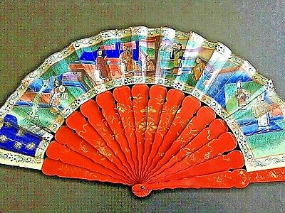 19Th Century China Chinese Canton Hundred Faces Red Lacquer Fan 古董扇