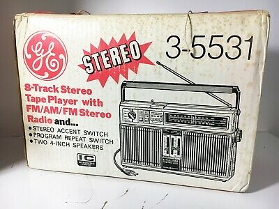 NOS GE General Electric AM/FM Radio 8 Track Player (Just Serviced & View Video)