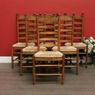 Set of 6 Vintage French Oak and Rush Seat Ladder Back Dining Kitchen Chairs