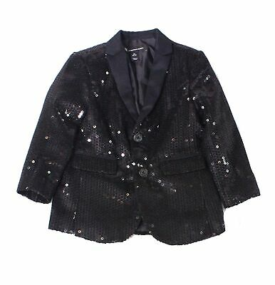 INC Baby Boys Blazer Black USA 2T (XS) Sequined Two Button Notch-Collar $99 021