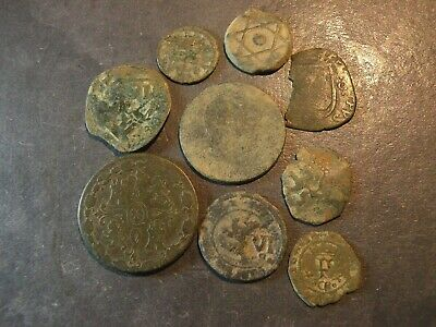 9 Coins Pirate  Ancient Antique Bronze Medieval 1300's-1800's Lot Old Colonial