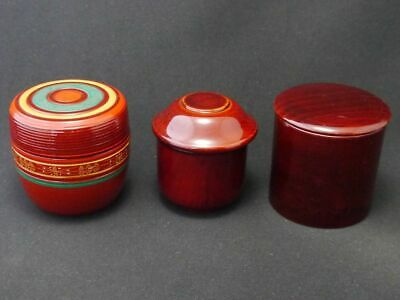 Japanese Traditional Lacquer Wooden Tea caddy UNIQUE Styles Natsume 3EA ① (826)