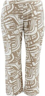 Dennis Basso Printed Luxe Crepe Wide-Leg Pull-On Pants Stone M NEW A349312