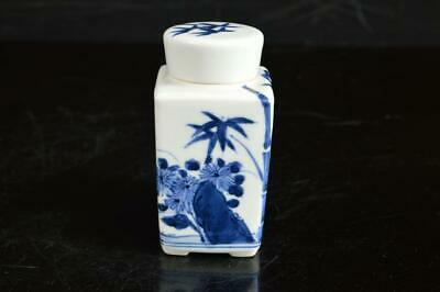 A4422: Japanese Kiyomizu-ware Blue&White TEA CADDY Chaire Container Tea Ceremony