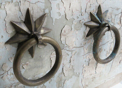 2 Solid CAST BRONZE not iron STAR RING PULL Door Gate Stall Knocker Towel Patina