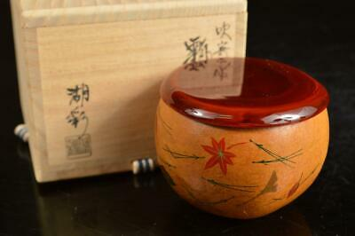 A4061: Japanese Wooden TEA CADDY Natsume Chaire Container w/signed box