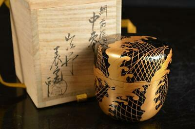 A4058: Japanese XF Wooden Lacquer ware TEA CADDY Natsume Container w/signed box