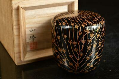 A4056: Japan Wooden Lacquer ware TEA CADDY Natsume Chaire Container w/signed box