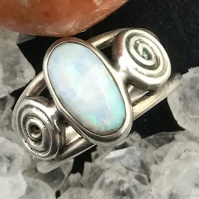 Sterling Silver Oval White Fire Opal Ring Size 6 For Women