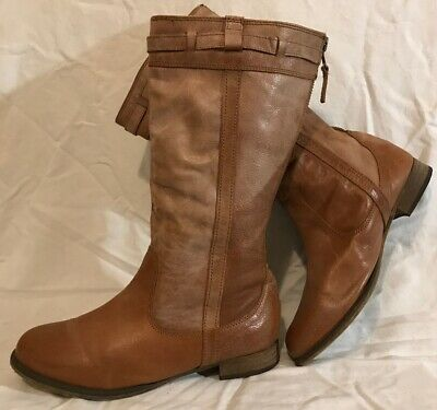 Monsoon Light Brown Mid Calf Leather Lovely Boots Size 6.5 (676QQ)