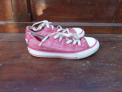 All Star Converse Red Sparkly Trainers Girls Kids Size 12 UK