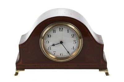 Antique Edwardian Mahogany And Chequer Strung Desk Clock