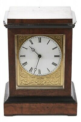 Antique Burr Walnut Ebonised Cased Desk Clock