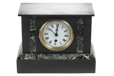 Antique Black Slate & Marble Mantel Clock