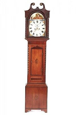 Antique Oak And Mahogany Inlaid 8 Day Grandfather Clock