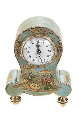 Antique French Japanned Balloon Desk Clock