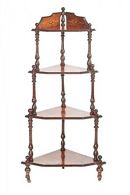 Quality Victorian Inlaid Burr Walnut 4 Tier Corner Whatnot