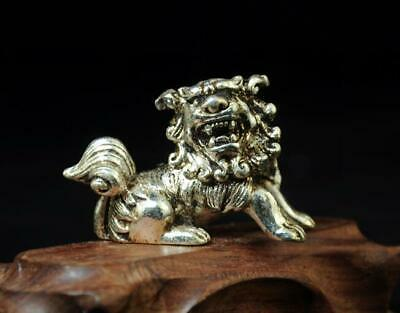 chinese hand handmade cooper-plating silver lion statue a01