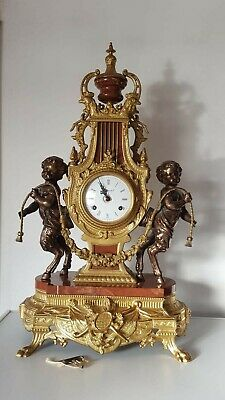 Stunning Vintage Clock Imperial Italy Large Brass Clock Cherubs Working Order
