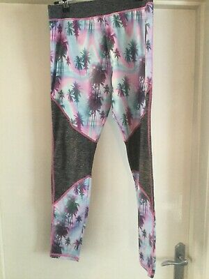 Next Gym Active Bottoms Leggings Sports Grey Pink Palm Trees Age 15