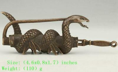 Antique chinese bronze snake lock old mascot decoration gift /Tb01
