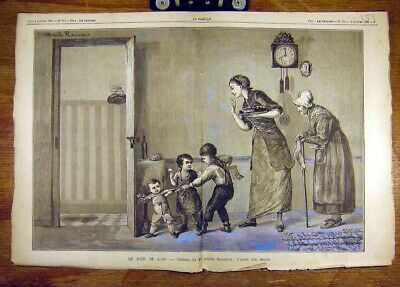 Original Old Antique Print 1885 New-Year'S-Day Reumaux Children French Art 19th
