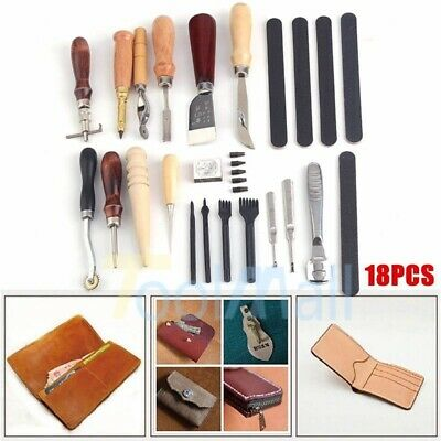 18Pc Vintage Leather Craft Kit Stitching Sewing Beveler Punch Working Hand Tools