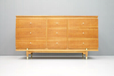 50er Years Sideboard with 9 Drawers USA 50 Chest of Drawers Credenza Brass