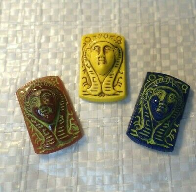 3  Czech Art DECO  Egyptian REVIVAL  PHARAOH  ART Glass  Jewelry  CABOCHONS