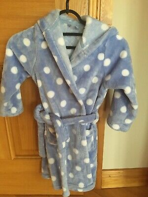 Marks & Spencers Blue polka dot dressing gown girls 5-6 - very soft and fluffy!