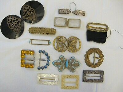 Good Collection of 14 Antique Edwardian - Art Deco Era Buckles + A Cloak Clip