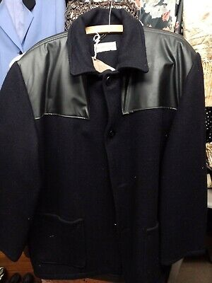 Men's vintage donkey jacket Black in colour with pvc patches chest 48 inches