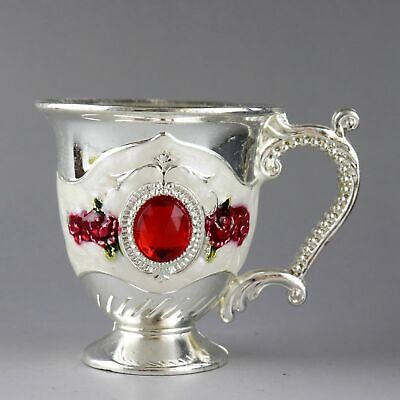 Collectable Old Cloisonne & Miao Silver Hand-Carved Bloomy Flower Noble Tea Cup