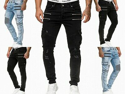 Young fashion destroyed Zipper Herren Cargo Style Skinny Fit Röhre Jeans Hose