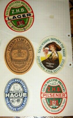 5 Old  Holland Beer Labels Nice Lot 1950s