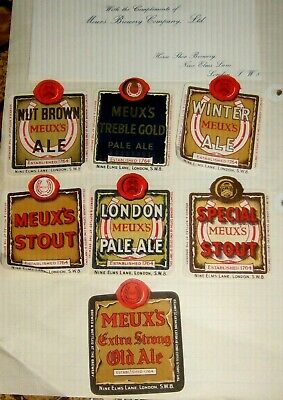 7 Old Meuxs London Beer Labels Nice Lot 1950s