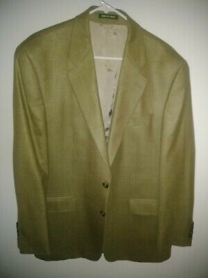Mens Ralph Lauren Tan Wool Silk Sport Coat Blazer, Size 43 regular.