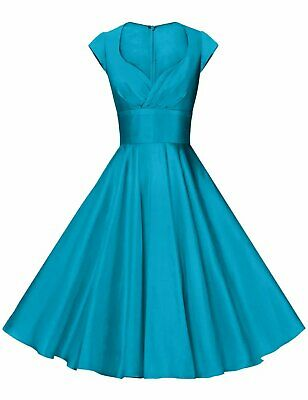 Gowntown Donna 1950s Vintage Swing Elasticizzato Abito da Cocktail Salvia Blu XL