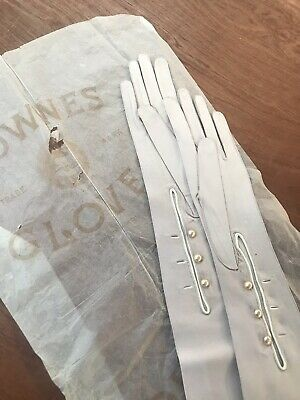 VINTAGE OPERA  LONG LADIES FRENCH PALE PINK KID LEATHER GLOVES -size 7