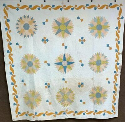 Early c 1840-50s Mariners Compass QUILT Antique Applique Prussian Blue Cheddar