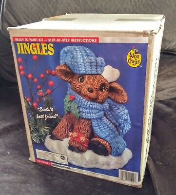 NIB Vtg Wee Crafts Jingles Reindeer Christmas Ready To Paint Kit #21522