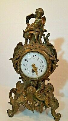 Antique french Cherub mount figured Mantle clock