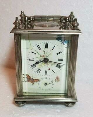 Small Silvered Case Carriage clock For Restoration Paris Made