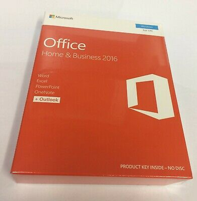 Microsoft Office Home and Business 2016 Key Card New in Factory Seal