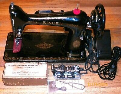 Restored 1941 Singer 66 WWII Sewing Machine - Sews Very Well