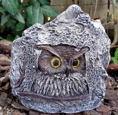 """Latex owl rock mold plaster cement casting mould  4.5""""W x 4.5""""H x 1.5"""" thick"""