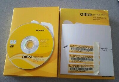 Microsoft Office Mac Home and Student 2008 for 3 Computers Users Disc & Keys