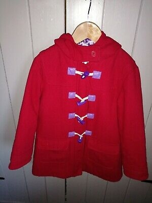 M&S INDIGO RANGE Infant Girls Red Duffle Coat With Lilac Toddles