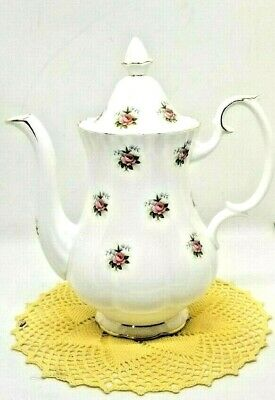 """Royal Albert Fine Bone China ~ England~ """"Forget-Me-Not Rose"""" Coffee Pot Flawless"""