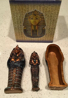 Miniature King Tut Sarcophagus Pacific Giftware Coffin with Mummy NEW Veronese